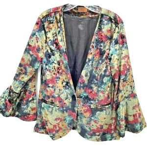 POL Floral Velvet Blazer Women's Medium